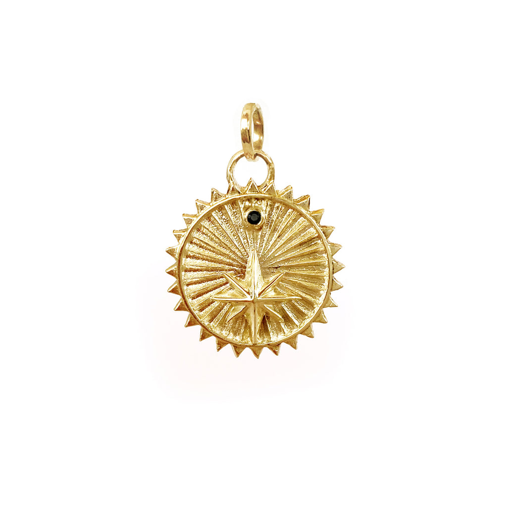gold medallion charm with star mystical jewelry colombian jewelry designers ana buendia