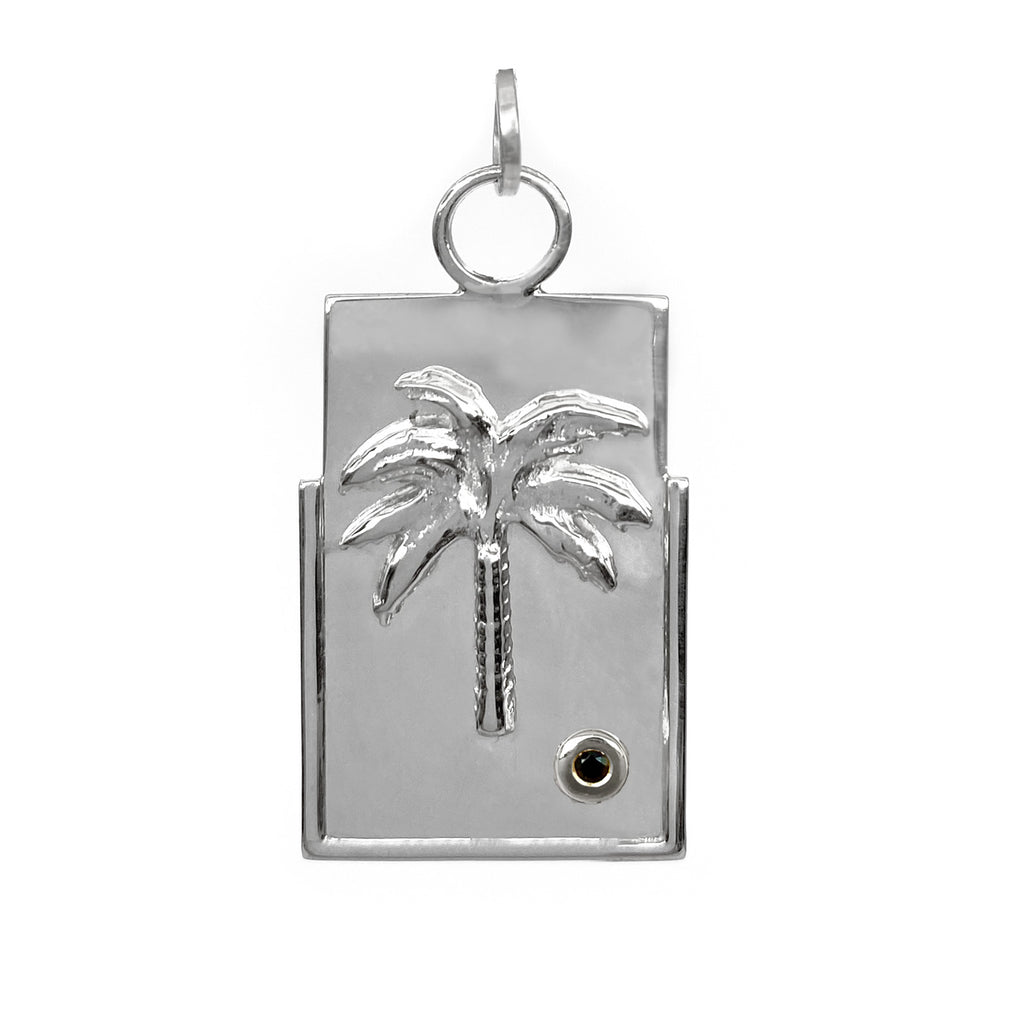 sterling silver medallion charm with palm tree and black stone good energy jewelry ana buendia