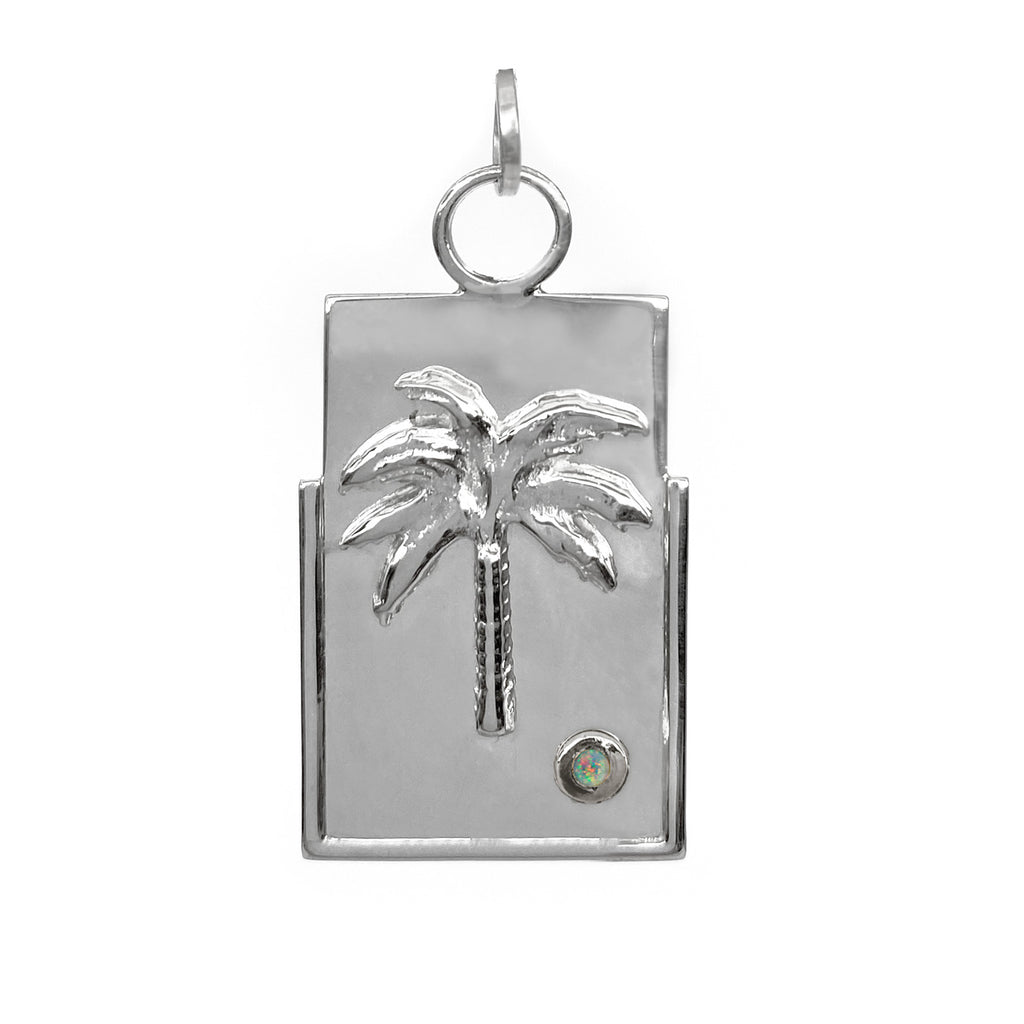 sterling silver pendant with natural opal and palm tree fine jewelry ana buendia