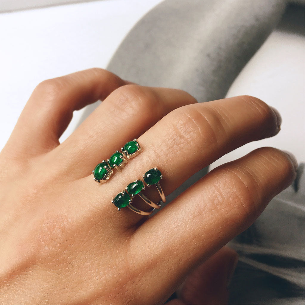 colombian emerald open rings moda jewelry stacked minimal