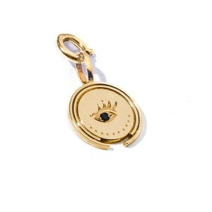 gold vermeil coin evil eye handmade mystical jewelry