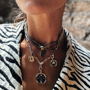 silver coin evil eye handmade necklace mystical jewelry
