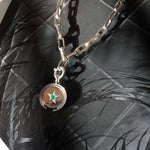 star coin necklace silver with colombian emeralds