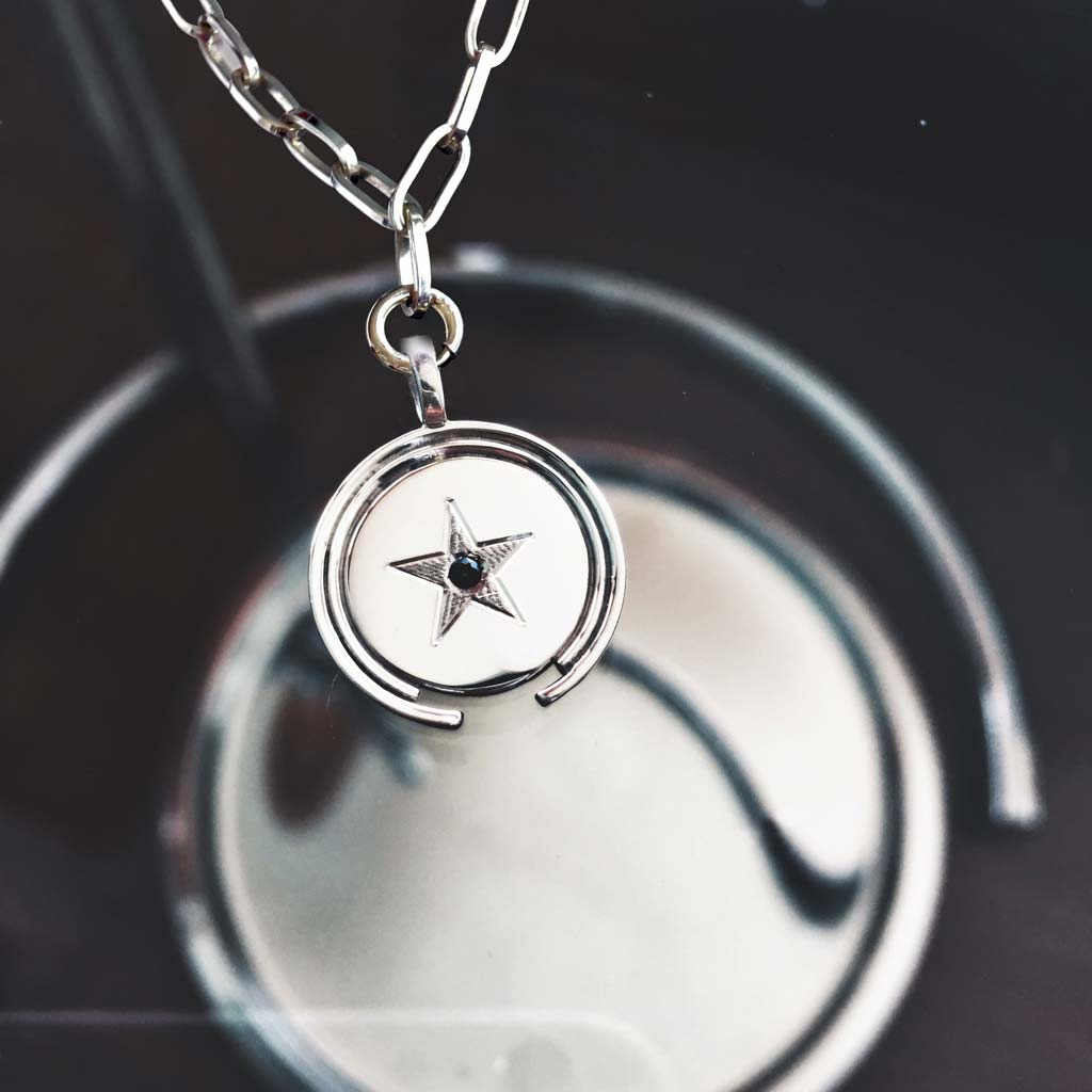 mystical star silver necklace bold link chain