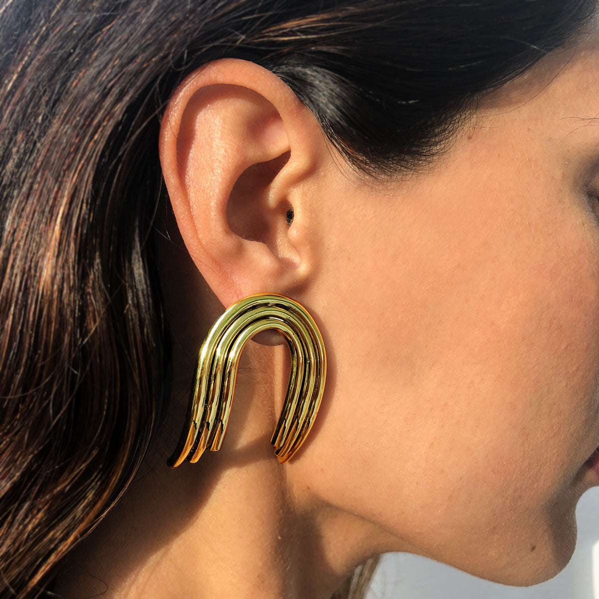 Ana Buendia gold plated earrings handmade colombian jewelry
