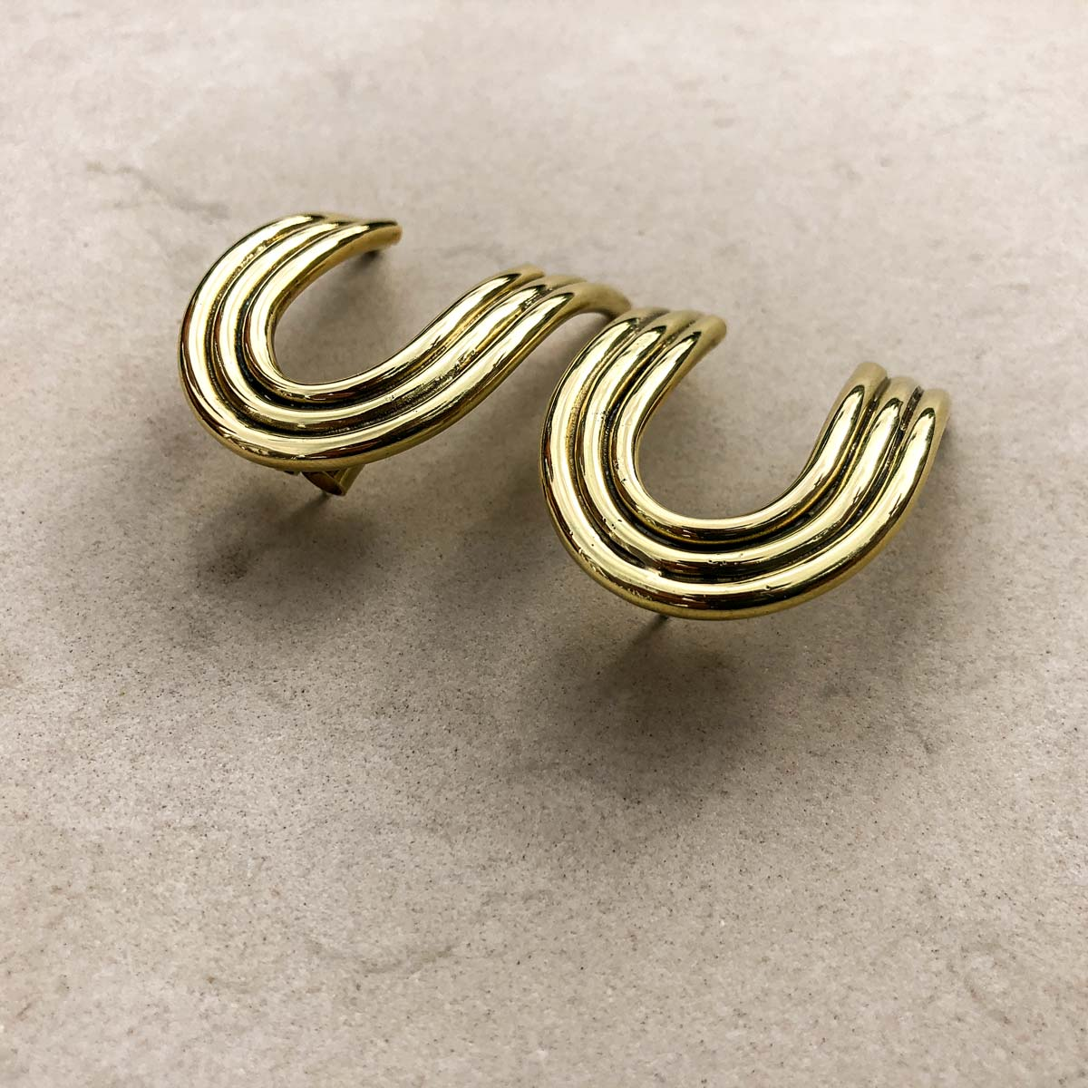 Ana Buendia gold plated minimal earrings handmade colombian jewelry