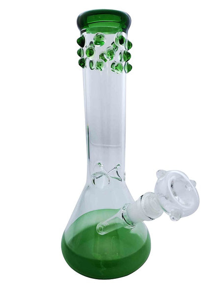 Glass Water Pipe Kit with Green Dot&Base Height:28cm Diameter:44mm&100mm