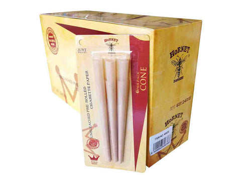 Hornet Unbleached Pre-Rolled Cigarette Paper 6CONE/PACK Kingsize