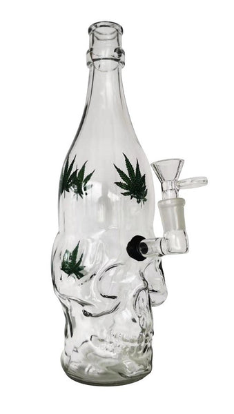 Skull Weed Glass Water Pipe with grommet : 300mm height