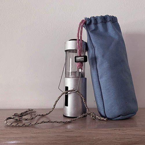 First sewing projects in 1991 - a string bag made from heavy cordura for a candle lantern.