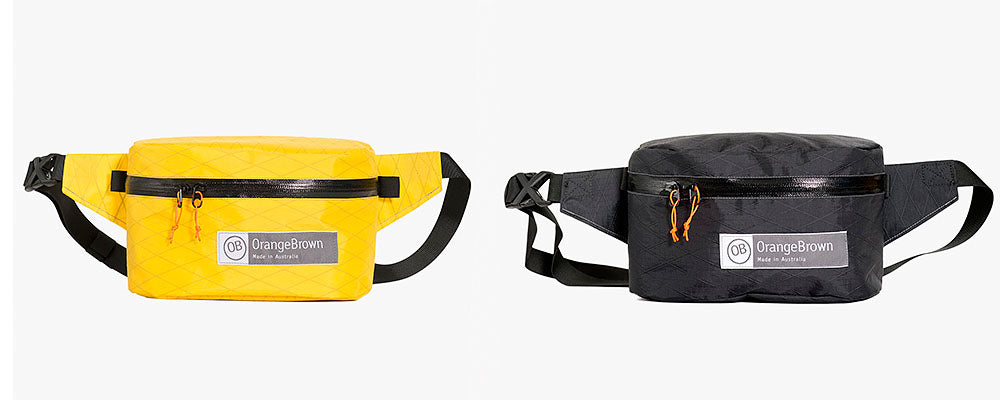 Two fanny packs with water resistant zipper made from X-Pac fabric. This bum bag can also be worn as a cross body bag.