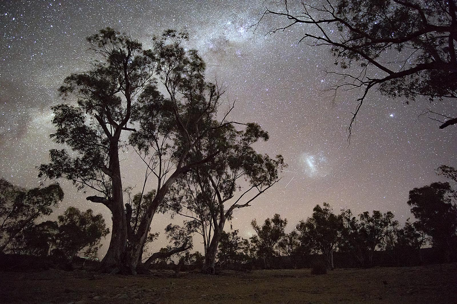 Milky Way from the Larapinta Trail over the Finke River in the Northern Territory of Australia. OrangeBrown