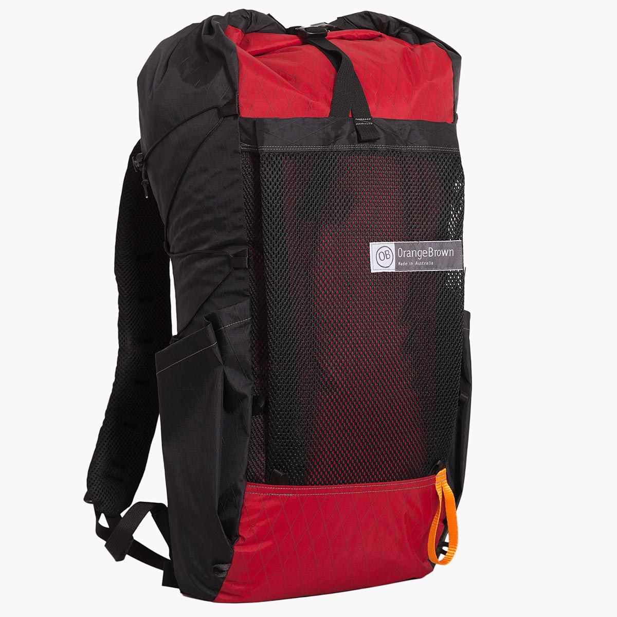 OrangeBrown ultralight backpack OB36 with roll top, large mesh pocket and two side pockets. Colours red and black.