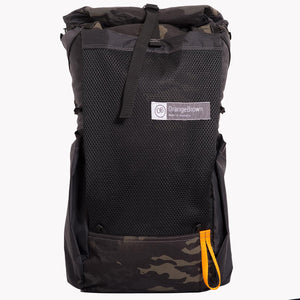 Australian made backpack manufactured from X-Pac fabrics by OrangeBrown. Featuring a roll top, large mesh pocket and two fabric side pockets. Here shown in multicam black.