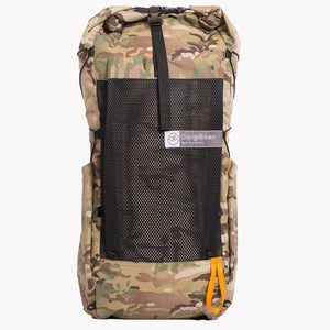 Medium sized backpack in multicam camouflage.  The pack has a volume of 36 L including two side pockets and a front mesh pocket. Side compression cord with a Line Loc 3 and an orange webbing loop to fix the trekking poles. Made in Australia from X-Pac fabric.