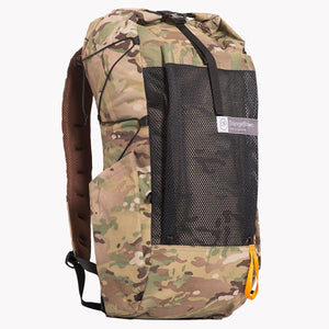 Medium sized backpack with 36 L volume. All multicam camouflage X-Pac fabric with two side pockets and a front mesh pocket. Side compression cord with a Line Loc 3 and an orange webbing loop to fix the trekking poles. Made in Australia.
