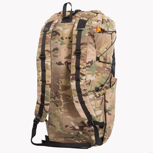 Rear view of backpack in camouflage with shoulder straps. Made in Australia from X-Pac Cordura multicam fabric.