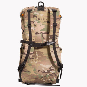 Shoulder straps and a sternum strap of backpack, with an adjustable buckle and emergency whistle. Made in Australia from X-Pac Cordura multicam fabric.