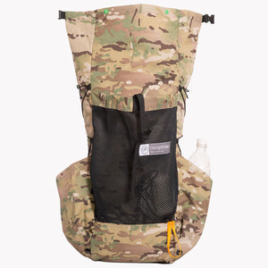 Medium sized backpack in multicam camouflage.  The roll top wide open showing the full length of the pack.  Made in Australia from X-Pac fabric.