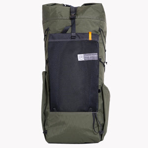 Australian made backpack for hiking and bushwalking. With the use of X-Pac materials this pack is very light but still robust. It has three external pockets and is shown in green.