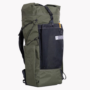 OrangeBrown made ultralight backpack OB 45 with roll top, large mesh pocket and two side pockets constructed from X-Pac fabrics.
