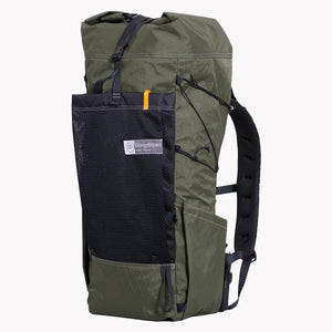 OrangeBrown made ultralight hiking backpack OB 45 with roll top, large mesh pocket and two side pockets constructed from X-Pac fabrics.