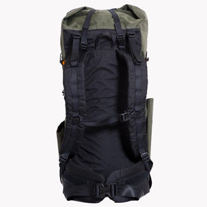 View of the shoulder straps and hip belt of an OrangeBrown OB 45 backpack. Shoulder straps are fitted with load lifters and sternum strap.
