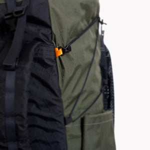 A LineLoc 3 and 2.5mm cord is used for the compression of the OrangeBrown OB 45 backpack.