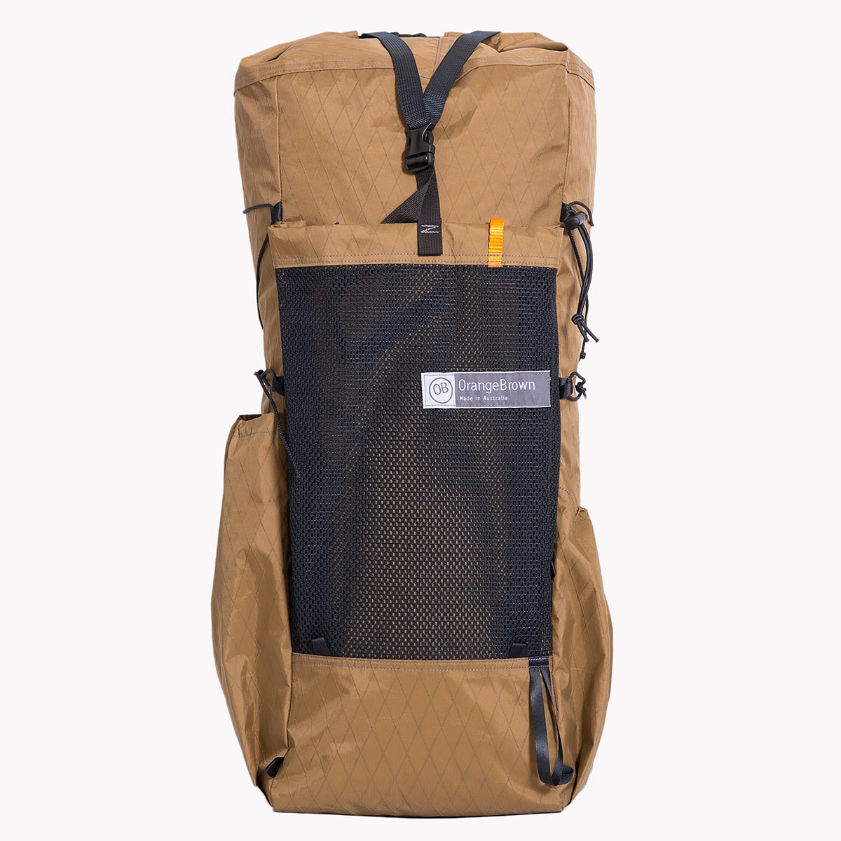 Australian made backpack for hiking and bushwalking. With the use of X-Pac materials this pack is very light but still robust. It has three external pockets and is shown in colour coyote.