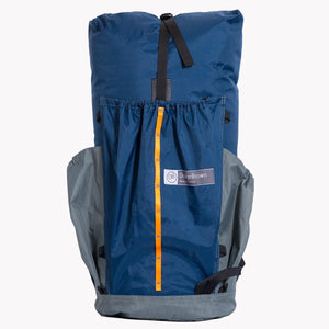 Australian made backpack for hiking and bushwalking. Handmade from X-Pac fabrics in colour blue grey.