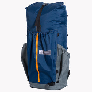 Thru pack made from X-Pac fabric. Handmade in Australia for ultralight hiking and bushwalking adventures. Here shown in blue grey.