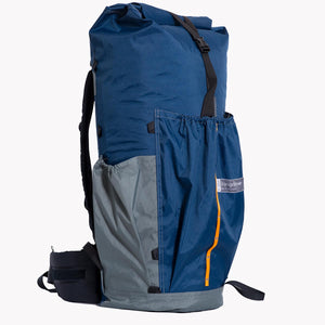 Backpack with three pockets made from X-Pac fabric. Handmade in Australia for hiking and bushwalking.