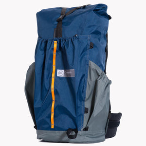 Backpack with roll top closure and three pockets made from X-Pac fabric for hiking and bushwalking.