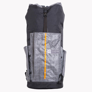Ultralight 55 L backpack for hiking and bushwalking. Made in Australia from X-Pac fabrics and Lite Skin in black and grey.