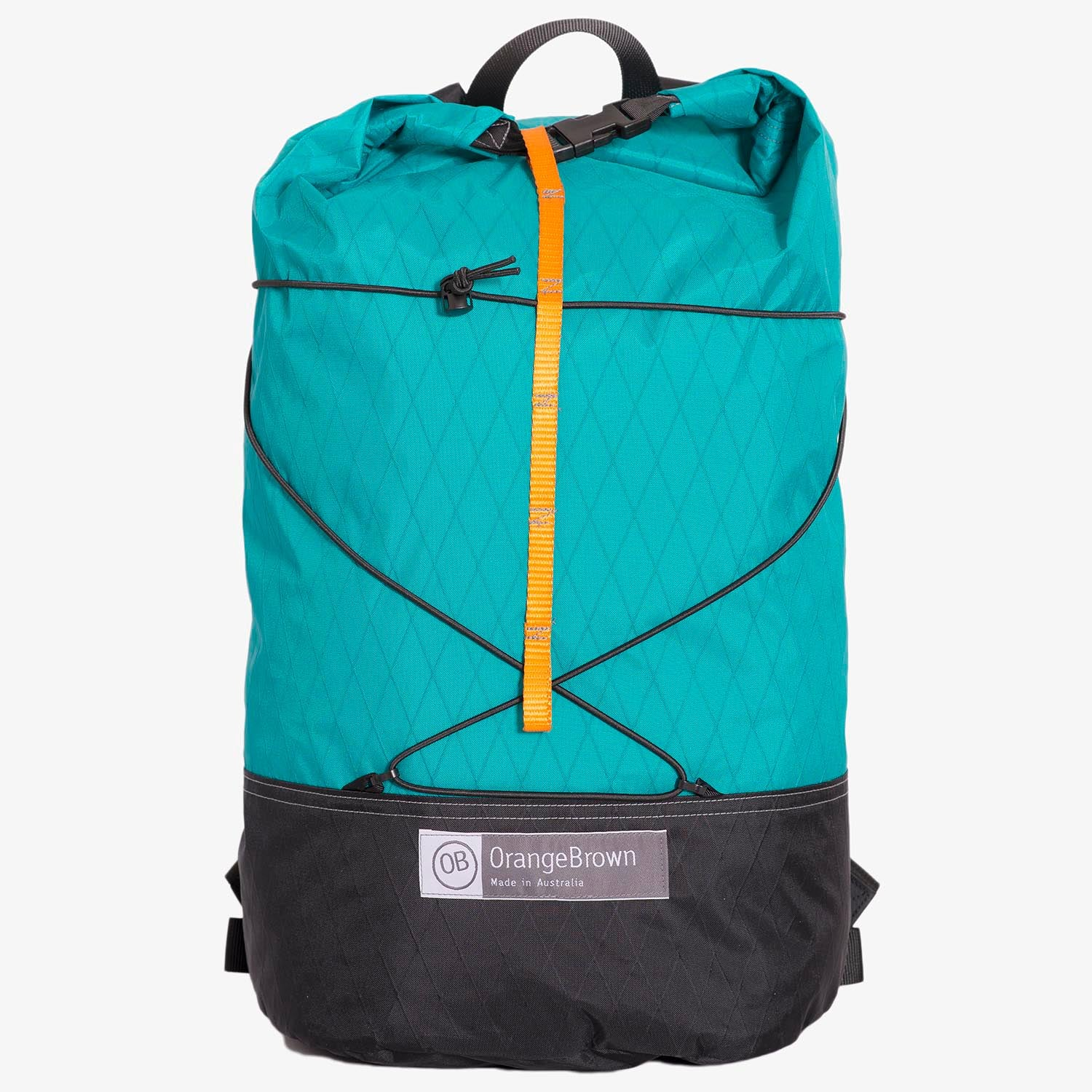 Frontal view of ultralight day pack with roll closure in teal-black. Handmade in Australia from X-Pac fabrics.