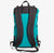 Shoulder straps of ultralight day pack made from X-Pac fabric with roll closure in teal-black.