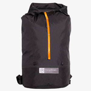 Ultralight day pack made from X-Pac fabric with roll closure in double black.