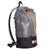 Side view of ultralight day pack hand made from X-Pac fabric with roll closure in colour grey-black. Made in Australia.