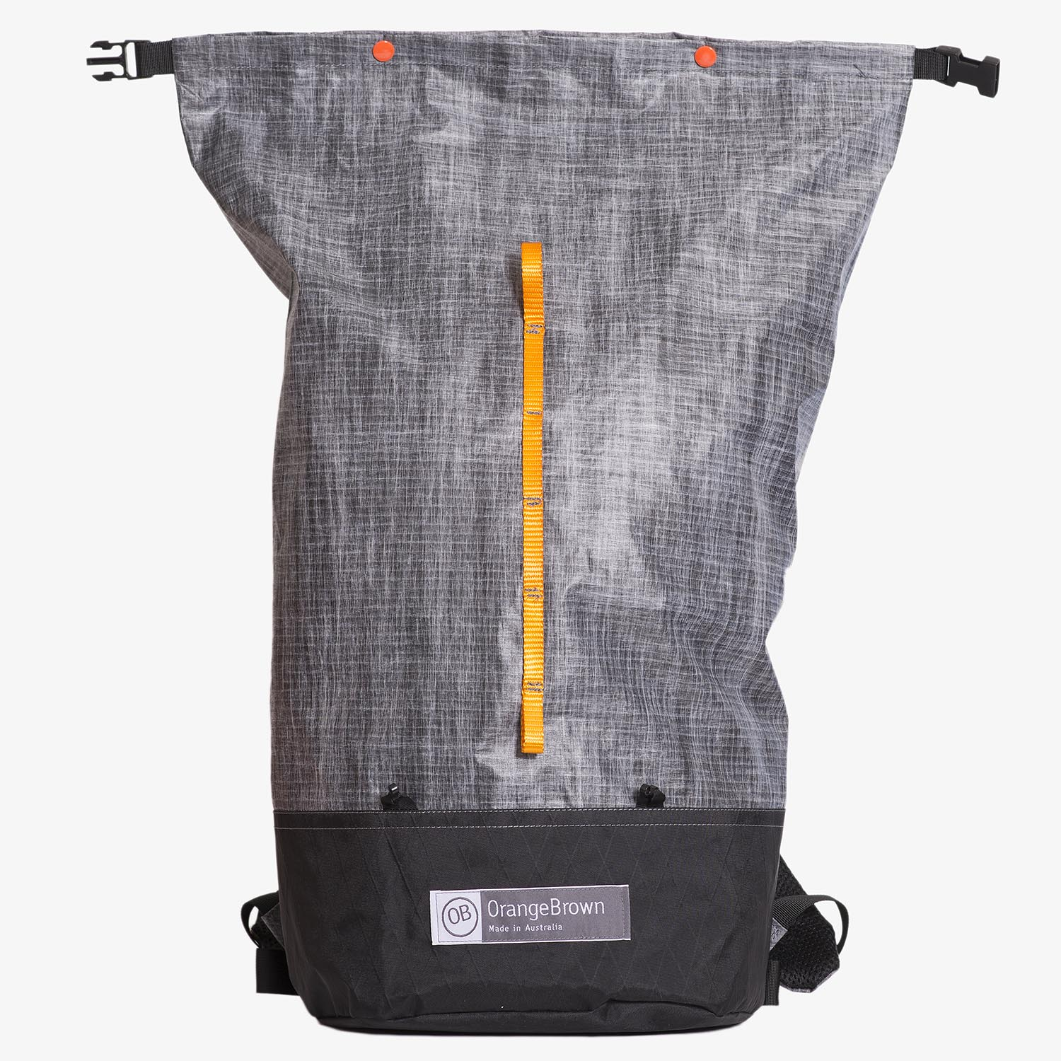 Frontal view of ultralight day pack with open roll top in grey-black. Made in Australia.