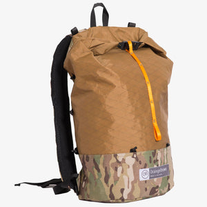 Ultralight day pack for hiking and bushwalking. Made in Australia from X-Pac fabric in colour coyote brown and camo.