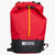 Frontal view of day pack with a volume of 17 L is ideal for day hikes and bushwalks. Made in Australia from X-Pac fabric in colours red and black.