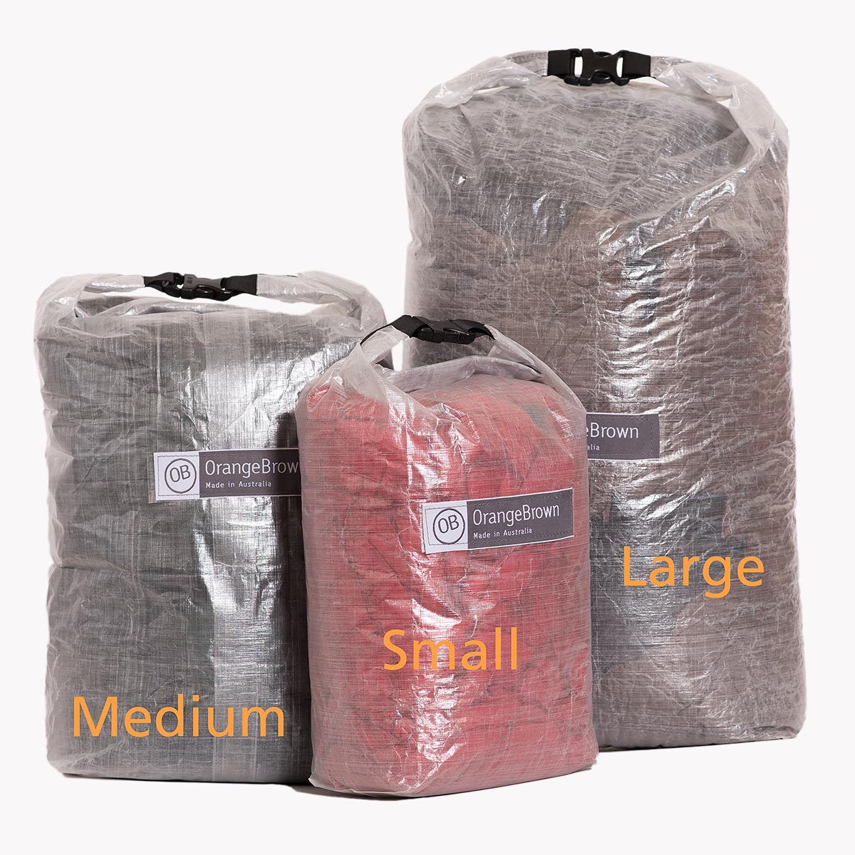 Dry Bag - Rolltop Storage Bag made from Dyneema® Composite Fabric (aka Cuben Fiber) - Size Small, Medium and Large. Handmade in Australia by OrangeBrown