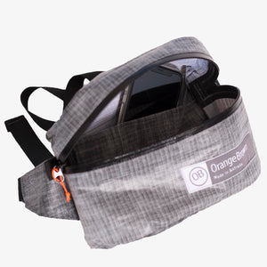 Fanny Pack with an external and internal compartment. This Bum Bag is hand made from X-Pac Lite Skin in colour grey.