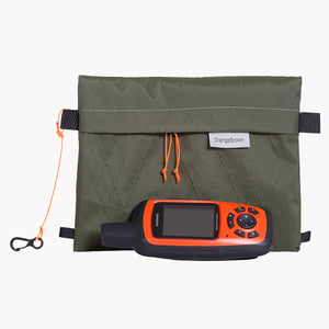Sternum strap bag made from dark green X-Pac VX21 fabric. A Garmin Explorer, phone and snacks easily fit and available instantly when needed.