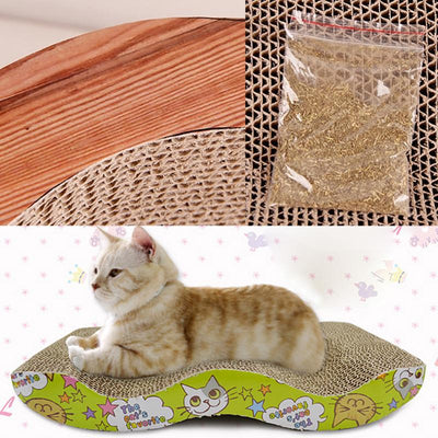 Scratch Board Corrugated Scratcher Pad Mat with Catnip