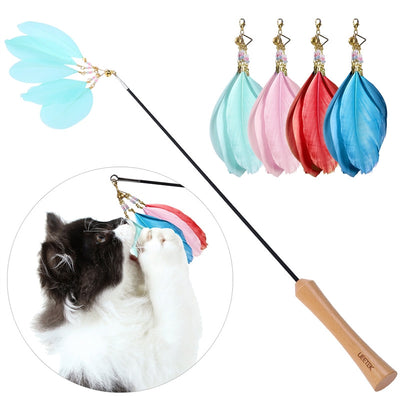 Retractable Cat Toys Interactive Feather with 4 Feathers Refills