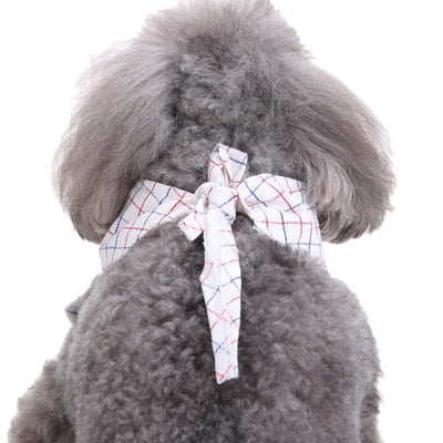 Pet Neckties Collar Adjustable Grid Suit Collar Tie for Party Wedding