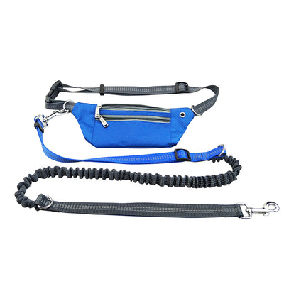 Hands Free Waist Pet Leash for Running Walking Hiking with Adjustable Waist and Pocket Bag