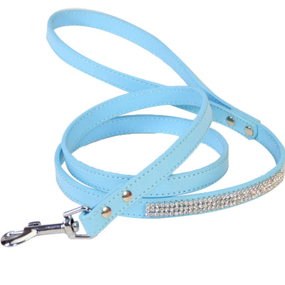 Leather Leash with Sparkly Studded Rhinestone