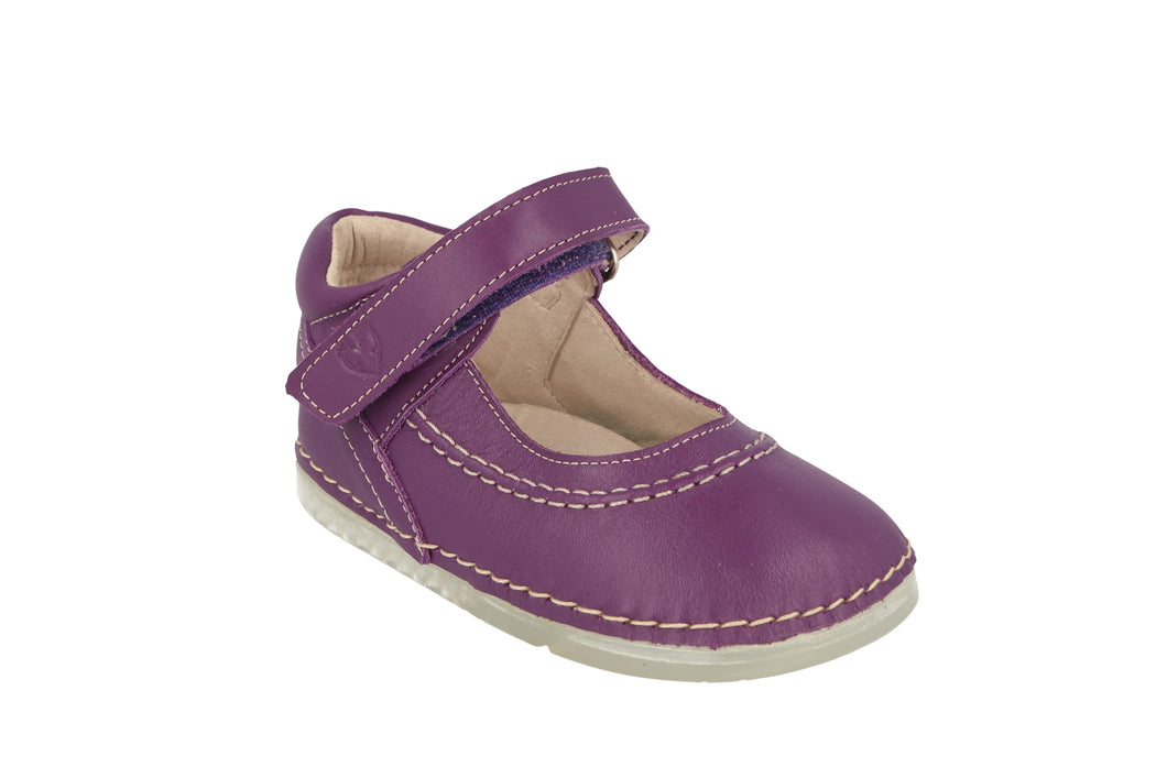 Madrid Velcro Mary Jane in Violet Metallic Leather